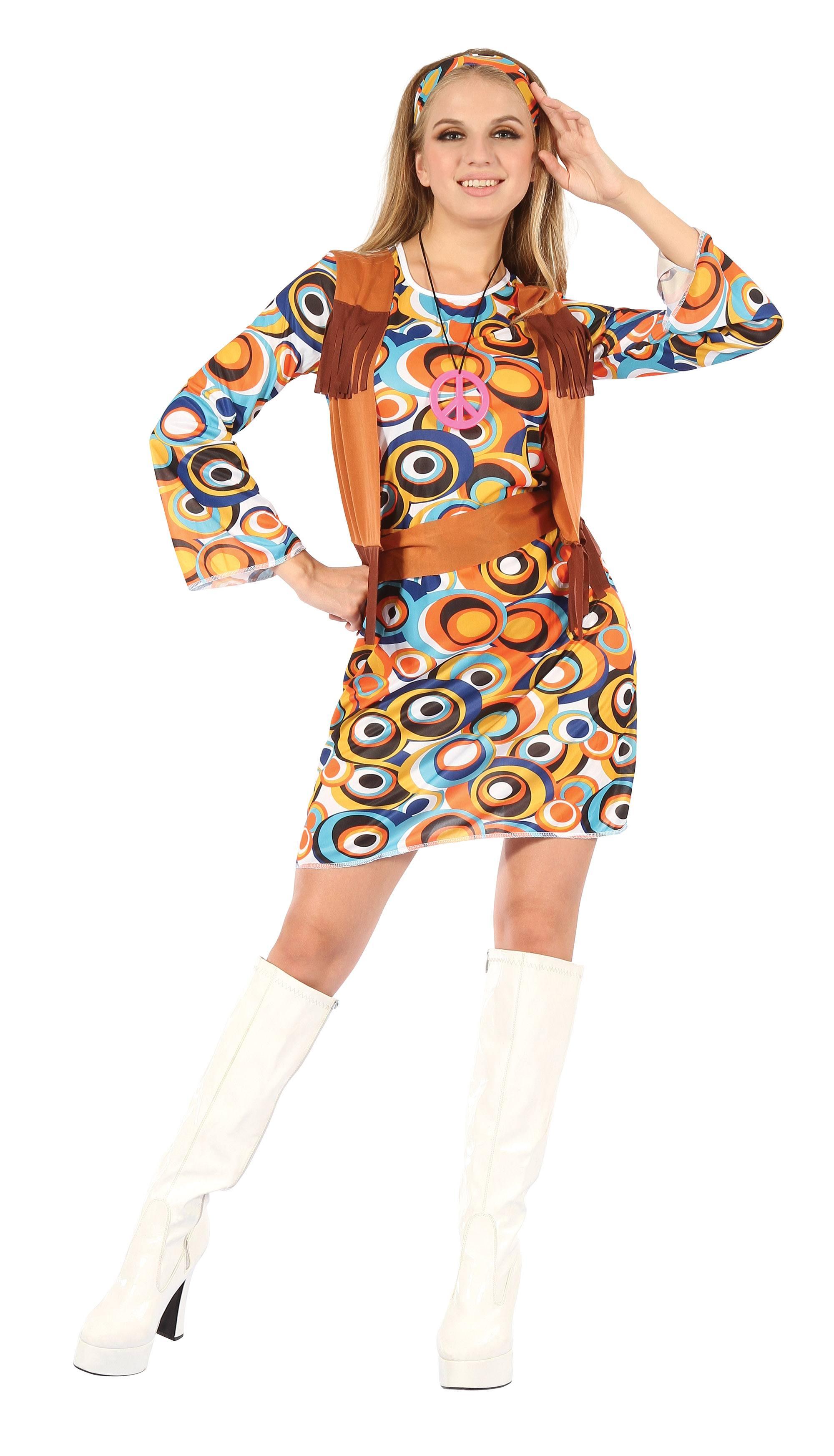 buy popular a154d 292d6 Dettagli su Hippy / Mod Vestito con con Frangia Canotta Adulto Donna Costume