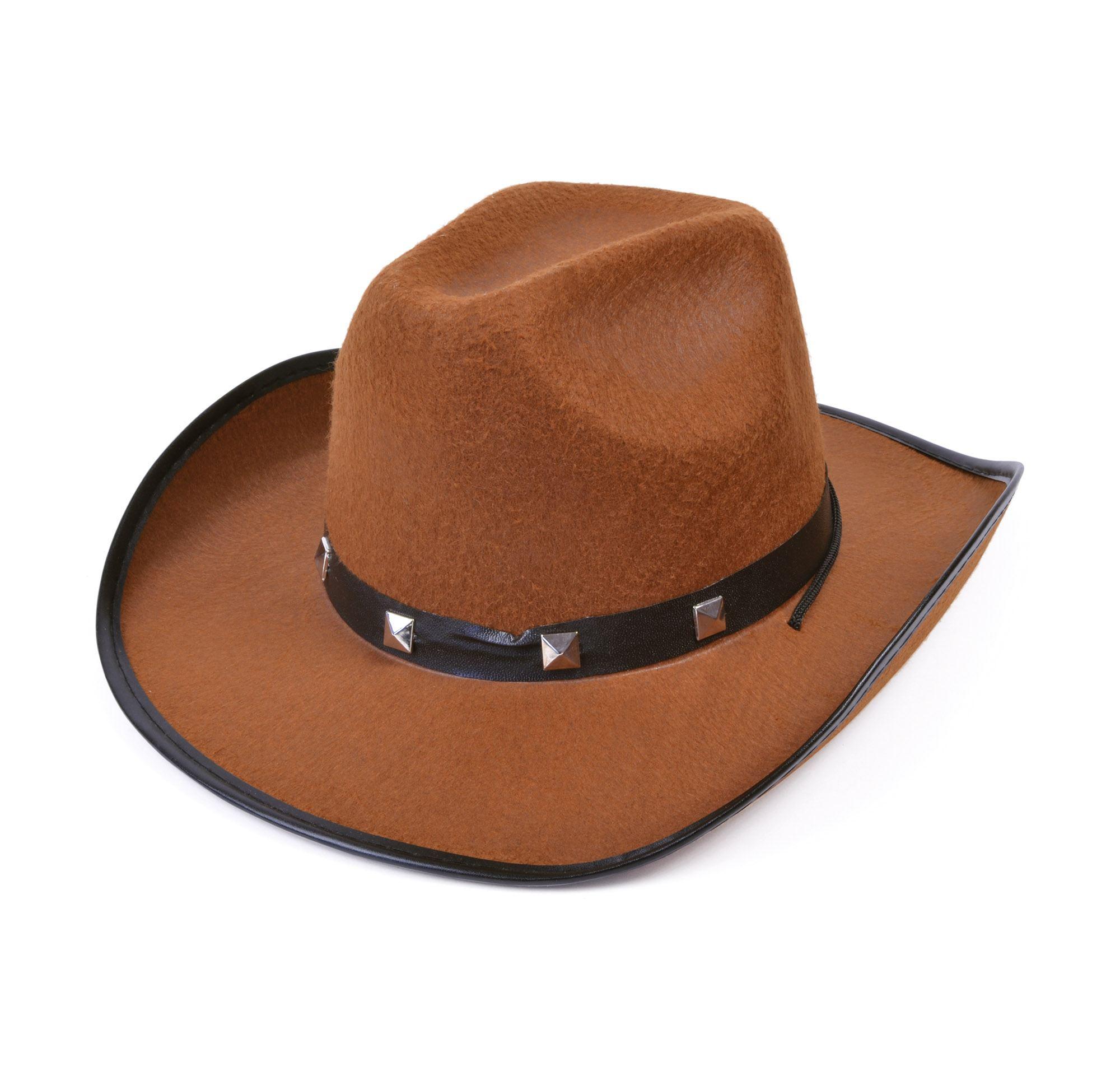 Cowboy con borchie cappello di feltro marrone nuovo 77cd26d95f0d
