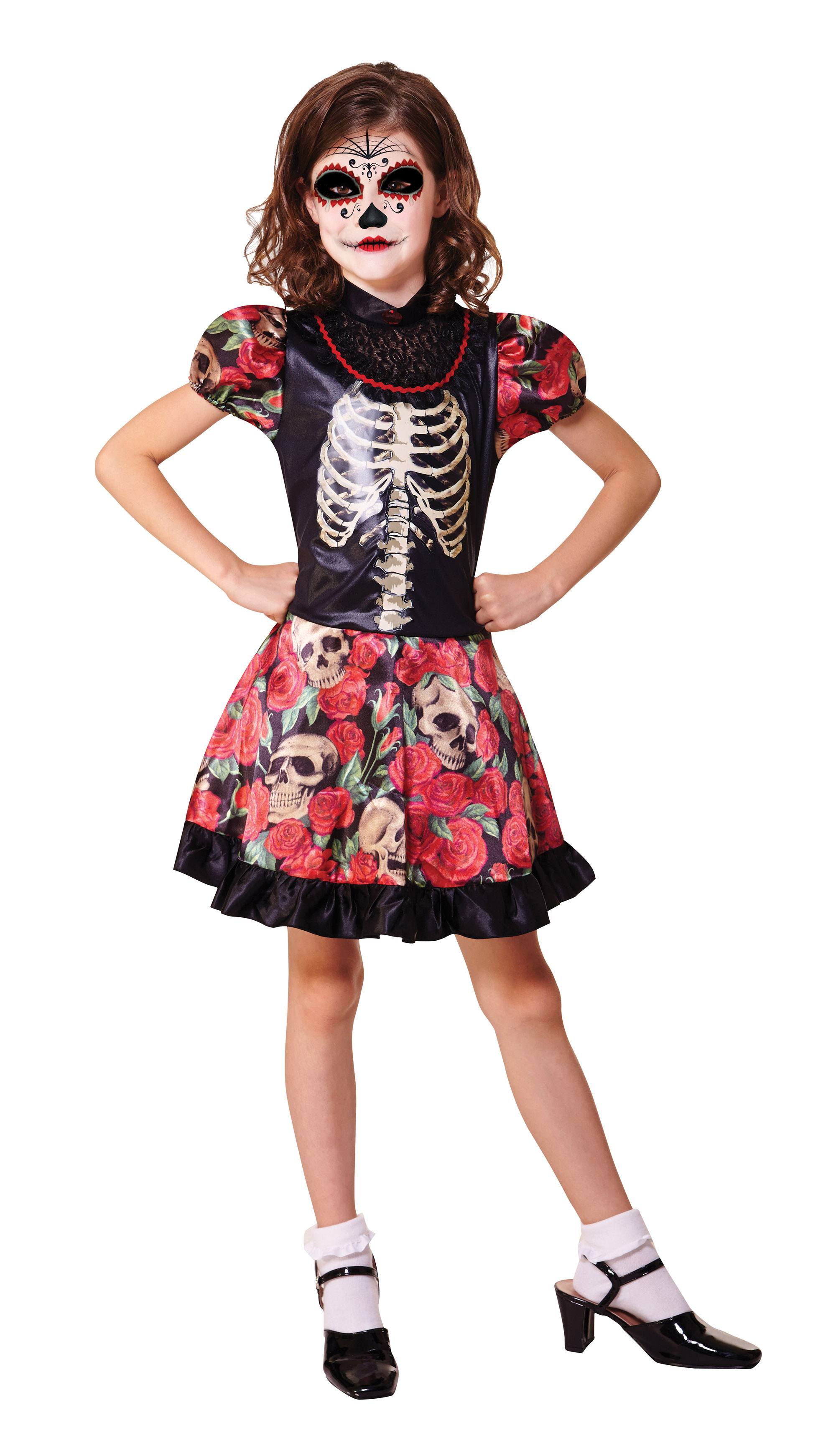 Halloween 134.Details About New Halloween Day Of The Dead Girl 134 146cm Girls Childrens Costume